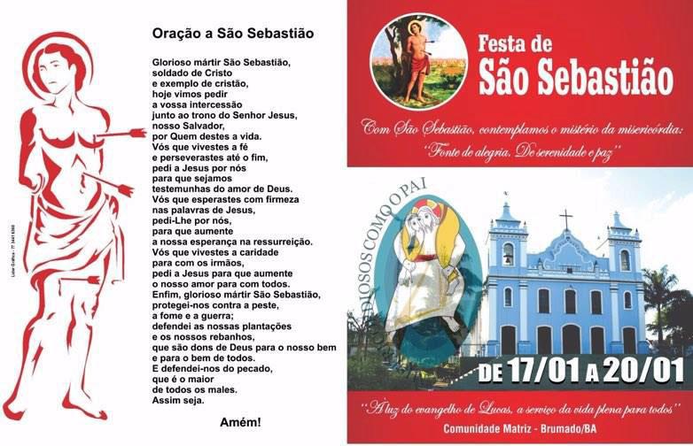 Cartaz da Festa de São Sebastião 2016 em Brumado. Foto: Divulgação